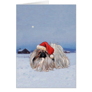 Pekingese Christmas Greeting Card