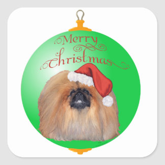 Pekingese Christmas Ornament Square Sticker