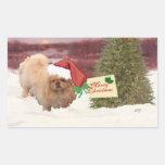 Pekingese Christmas Rectangular Sticker