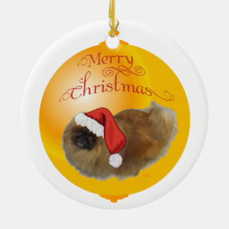Pekingese Christmas Round Ceramic Decoration