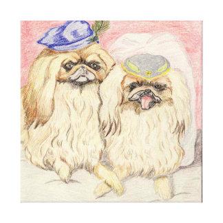 Pekingese Couple Canvas Print