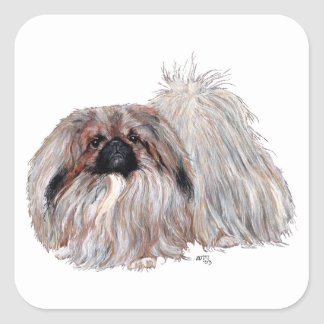 Pekingese Dog Standing Square Sticker