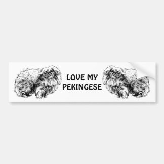 pekingese drawing bumper sticker