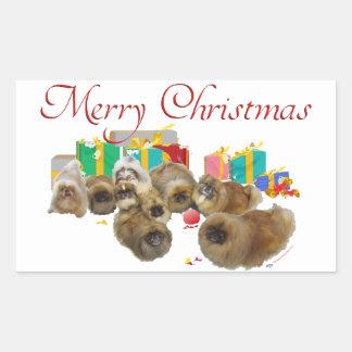 Pekingese Group Celebrates Christmas Rectangular Sticker