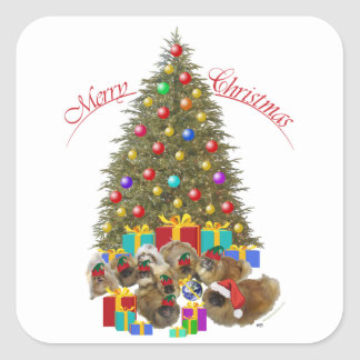 Pekingese Group Celebrates Christmas Square Sticker