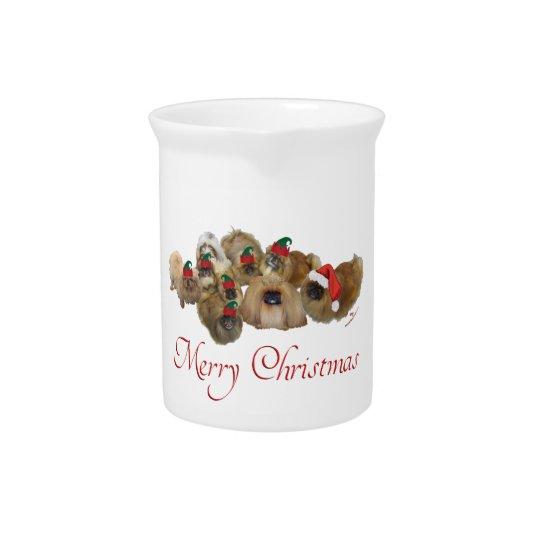 Pekingese Group Christmas Pitcher