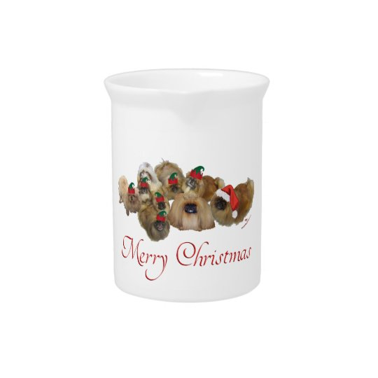 Pekingese Group Christmas Pitchers