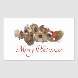 Pekingese Group Christmas Rectangular Sticker