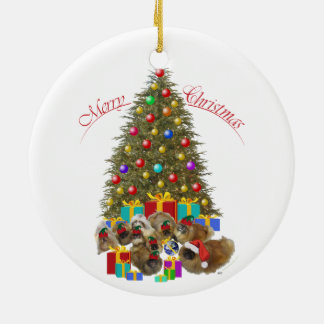Pekingese Group Christmas Round Ceramic Decoration