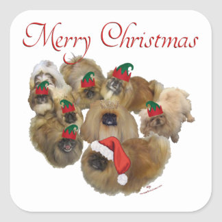 Pekingese Group Christmas Square Sticker