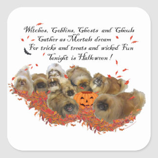 Pekingese Halloween Square Sticker