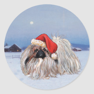 Pekingese Holiday Designs Classic Round Sticker