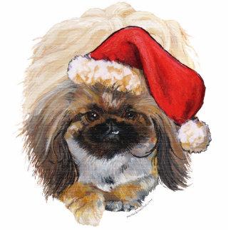 Pekingese Holiday Santa Ornament Acrylic Cut Out