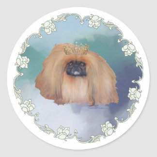 Pekingese Ice Princess Classic Round Sticker