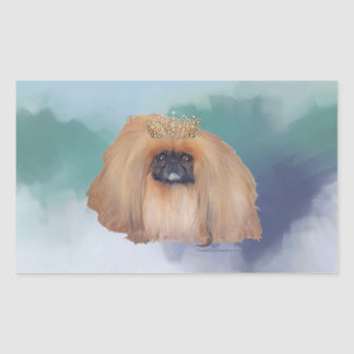 Pekingese Ice Princess Rectangular Sticker