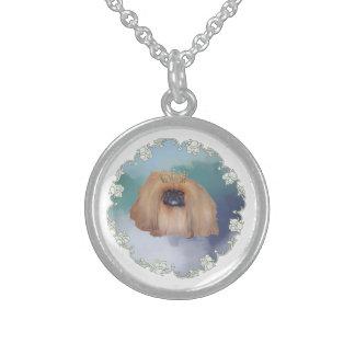 Pekingese Ice Princess Round Pendant Necklace