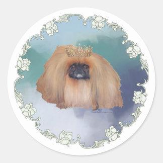 Pekingese Ice Princess Round Sticker