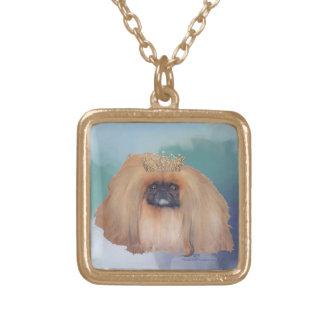Pekingese Ice Princess Square Pendant Necklace