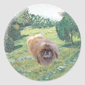 Pekingese in a Meadow Classic Round Sticker