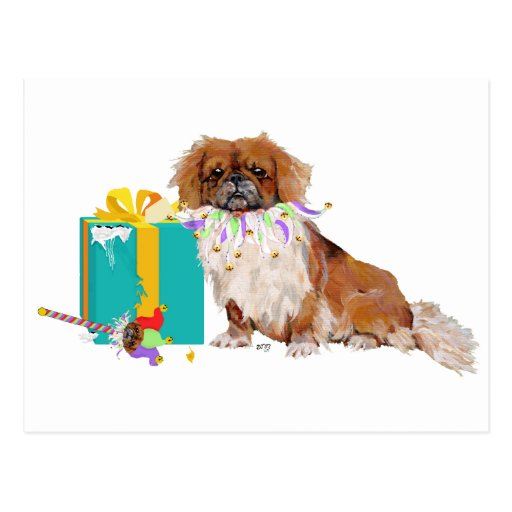 Pekingese in a Party Mood Postcard