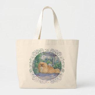 Pekingese in Lavender Large Tote Bag
