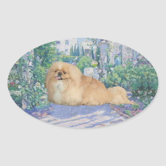 Pekingese in Lavender Oval Sticker