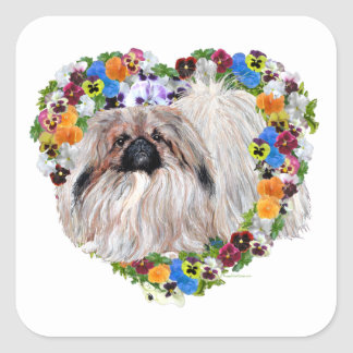 Pekingese in Pansies Square Sticker