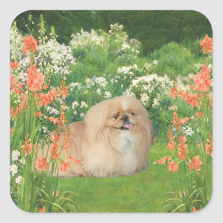 Pekingese in the Garden Square Sticker