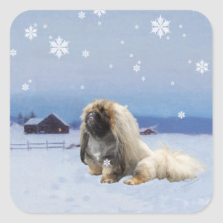 Pekingese in Winter Square Sticker