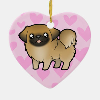 Pekingese Love (puppy cut) Ceramic Heart Decoration