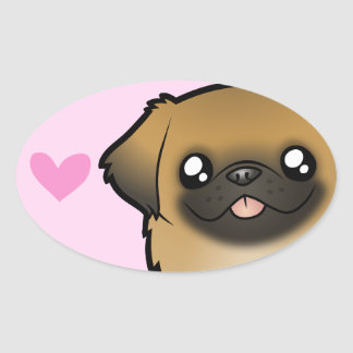 Pekingese Love (puppy cut) Oval Sticker