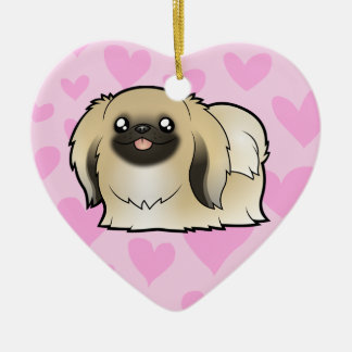 Pekingese Love (show cut) Ceramic Heart Decoration