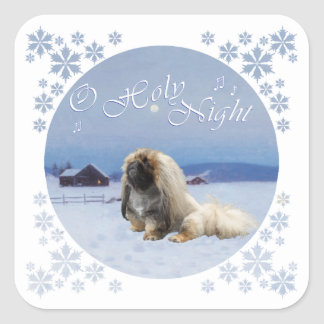 Pekingese O Holy Night Square Sticker
