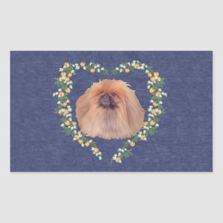 Pekingese Orange Blossoms Rectangular Sticker