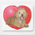 Pekingese / Poodle Mix Valentine's Day Mousepads