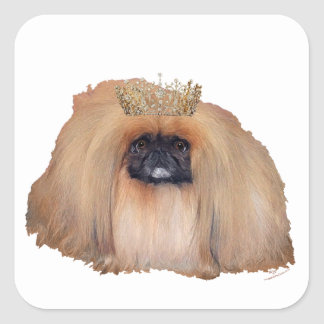 Pekingese Queen Square Sticker