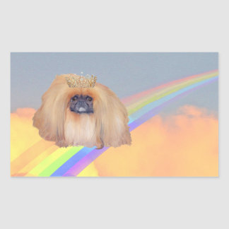 Pekingese Rainbow Rectangular Sticker