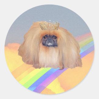 Pekingese Rainbow Round Sticker