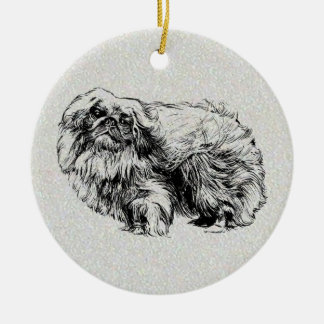 pekingese round ceramic decoration