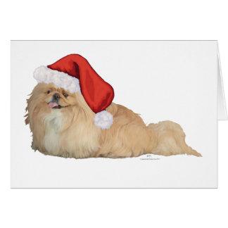 Pekingese Santa Claus Card