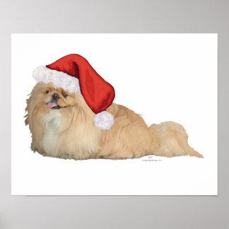 Pekingese Santa Claus Poster