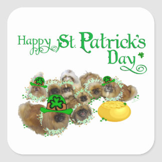 Pekingese St. Patrick's Day Square Sticker