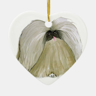 Pekingese, tony fernandes ceramic heart decoration
