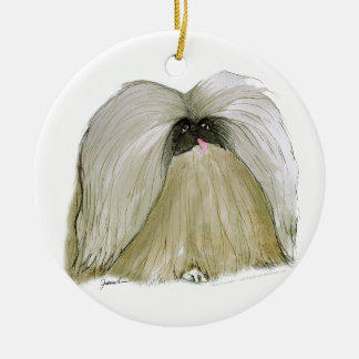 Pekingese, tony fernandes round ceramic decoration