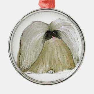Pekingese, tony fernandes Silver-Colored round decoration