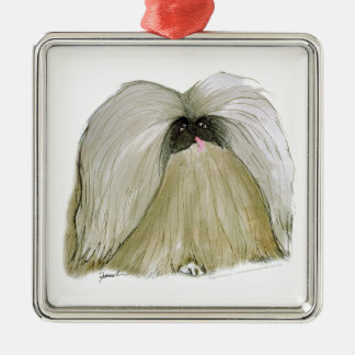Pekingese, tony fernandes Silver-Colored square decoration