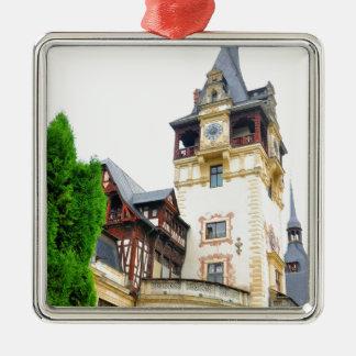 Peles Castle in Sinaia, Romania Silver-Colored Square Decoration