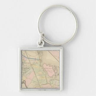 Pelham, Pelham Manor, New York Silver-Colored Square Key Ring