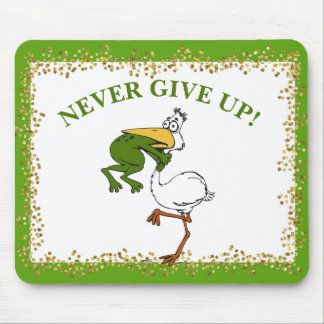 Pelican and Frog Never Give Up Mouse Mat