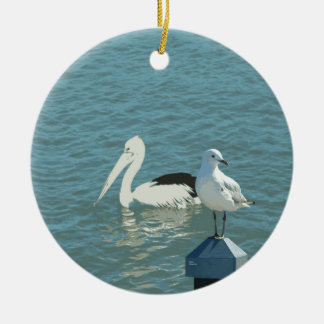 Pelican at Shorncliffe Round Ceramic Decoration